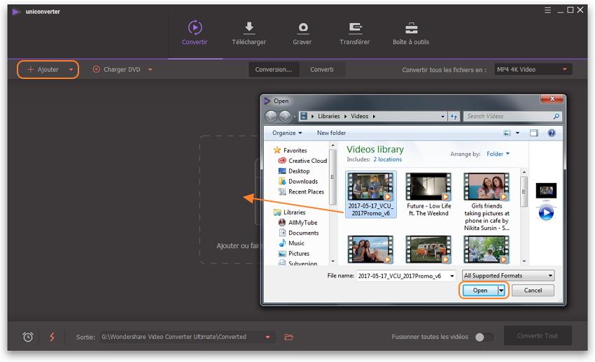 Ajouter Vidéos au convertisseur vidéo gratuit