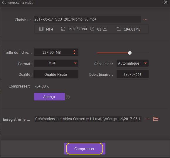 Commencer à réduire le fichier vidéo MP4