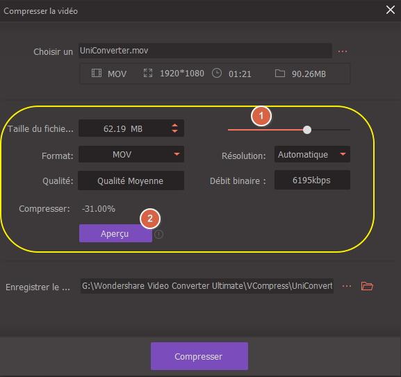 paramètre de compression vidéo QuickTime