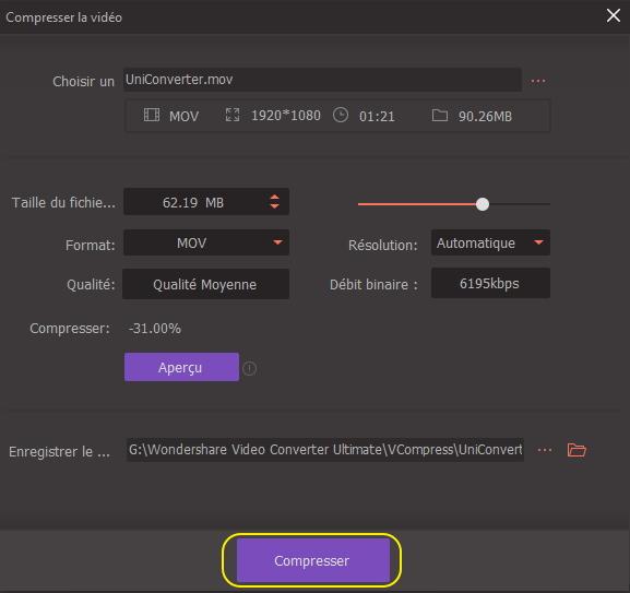Editer la vidéo pour compression vidéo QuickTime