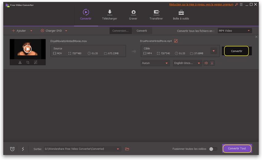 Convertisseur gratuit vidéo MOV en MP4