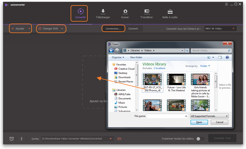 ajouter des vidéos dans le compresseur vidéo - compression vidéo vlc