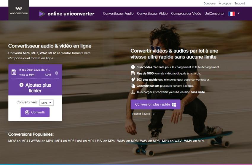 Convertir WMA en MP4 en ligne
