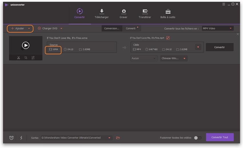 Comment convertir MP4 en WMA ou MP4 en WMA - ajouter des fichiers