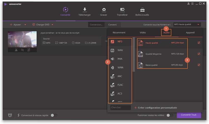 Convertir une vidéo en audio - choisir le format de sortie