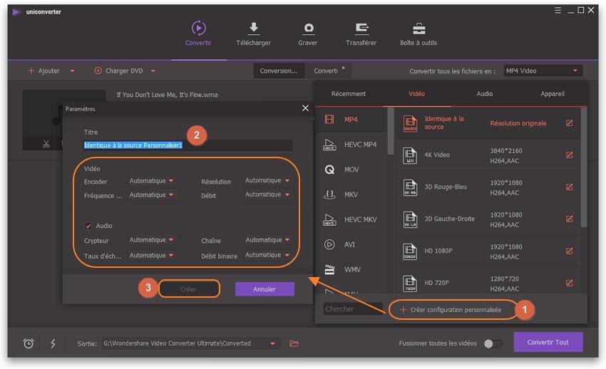 Comment convertir MP4 en WMA ou MP4 en WMA - créer personnalisé
