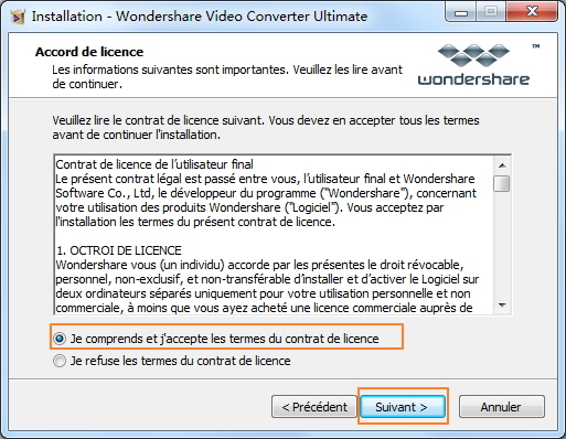 Installer Wondershare Video Converter Ultimate - lire le contrat de licence et choisir le répertoire destination