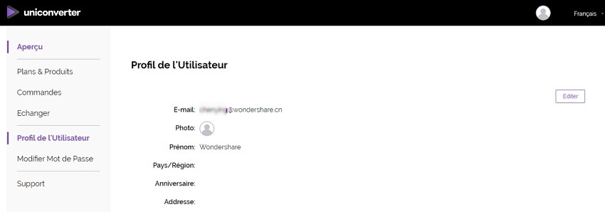 profil compte UniConverter