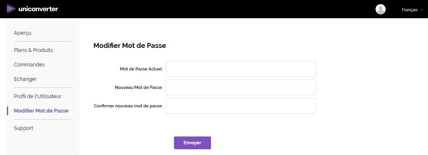 modifier le mot de passe du compte Uniconverter