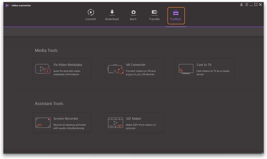 Wondershare Video Converter Ultimate Basics - toolbox for windows