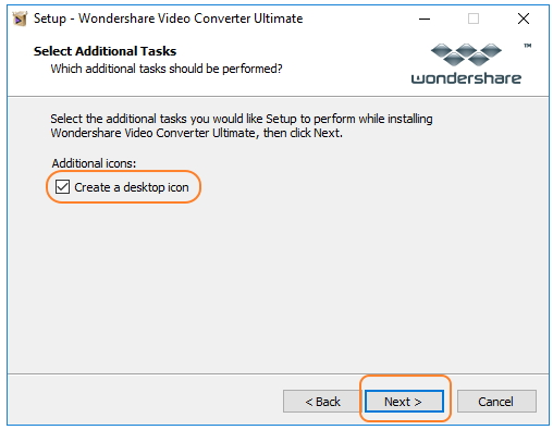 Intall Wondershare Video Converter Ultimate - create a desktop and install it