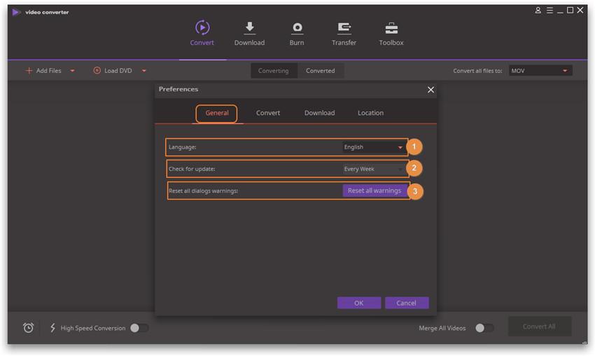 Set Wondershare Video Converter Ultimate - General Preferences