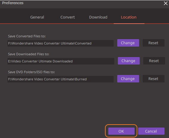 Set Wondershare Video Converter Ultimate - Location settings