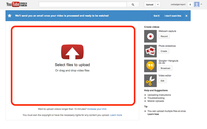 Upload MP4 to YouTube - Time Limit of YouTube