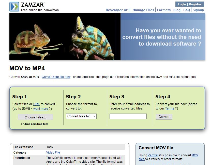 Convertitore Online da MOV a MP4 - Zamzar