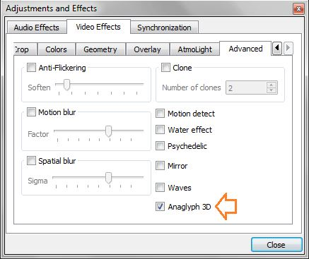 enable vlc 3d effects