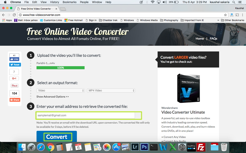 click Convert to start M4V to MP4 conversion on Mac