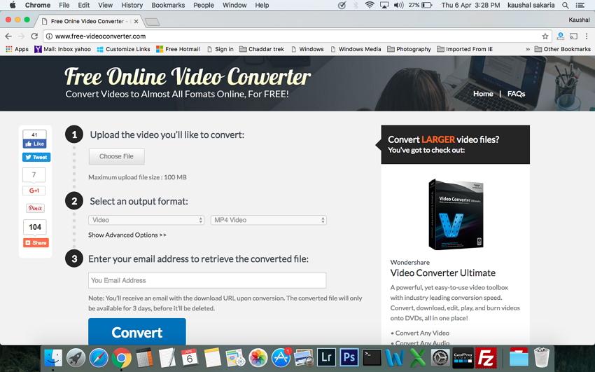 Konvertiere WMV in MP4 auf Mac - Öffnen Sie die Website