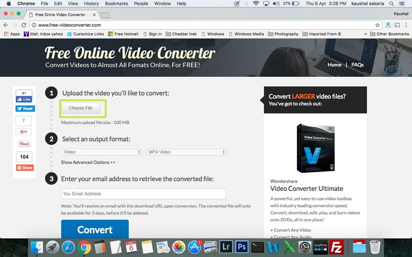 Convertir un WMV en MP4 sous Mac - choisir fichier