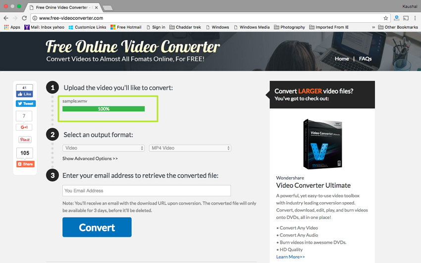 Convert WMV to MP4 on Mac - Select target WMV file