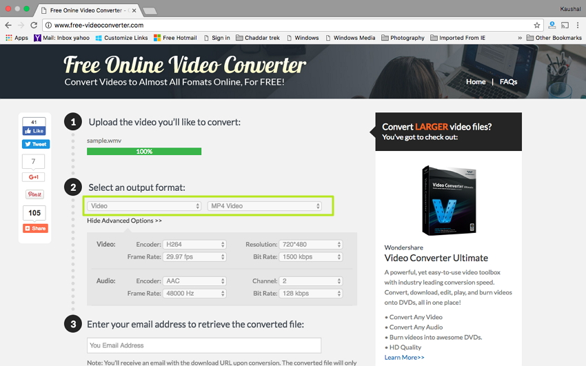 Convert WMV to MP4 on Mac - Select MP4 as output format