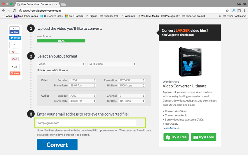 Convert WMV to MP4 on Mac - Enter your Email Address