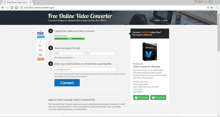 Convertidores MP4 a FLV en Línea Free Online Video Converter