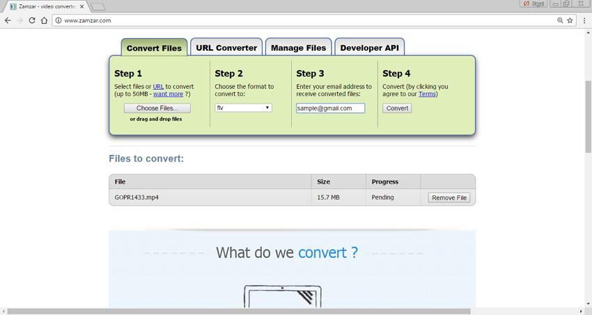 convertisseurs MP4 en FLV en ligne - Zamzar