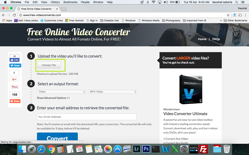 Click Choose File to Convert FLV to MP4 on Mac