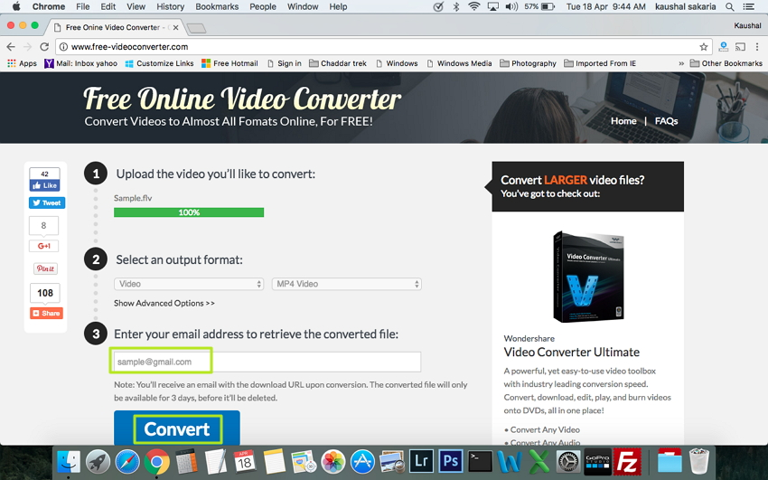 Enter your email address to Convert FLV to MP4 on Mac