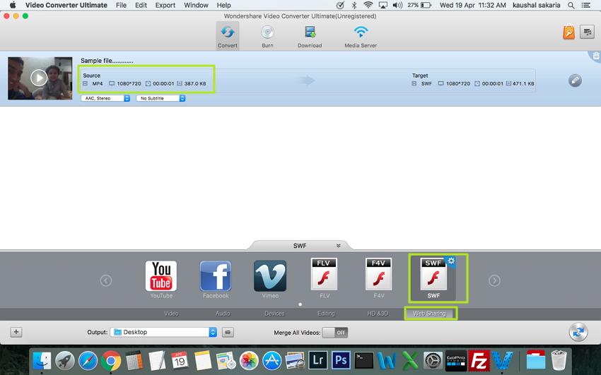 Convertir MP4 en SWF sur Mac - sélectionnez SWF comme format de sortie