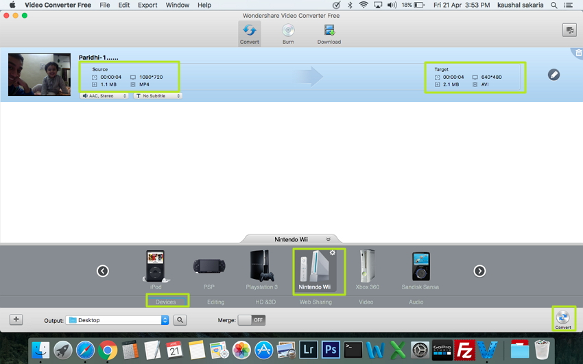 Convertir MP4 vers AVI sur Mac -  Wondershare Video Converter Free