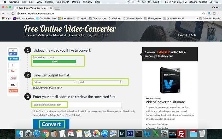 convert MP4 in AVI mac - Free Online Video Converter