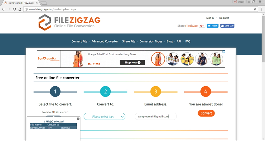 Convertir RMVB/RM en MP4 en ligne - FileZigZag