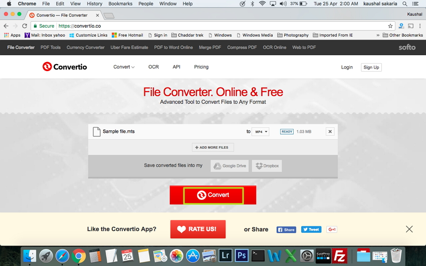 Convert MTS to MP4 Mac free and online