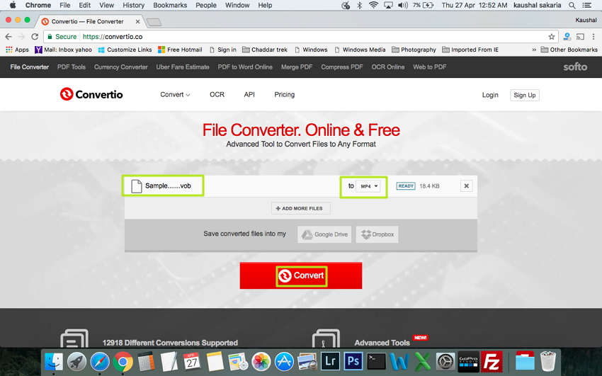Select MP4 as the output format for online conversion