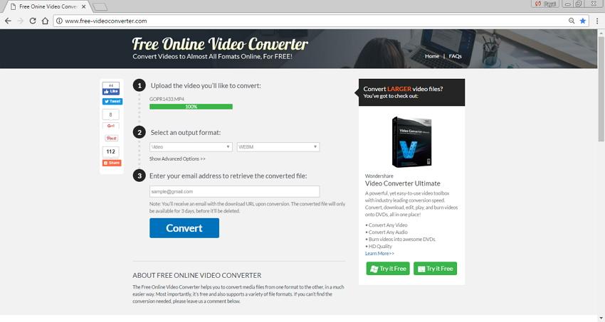 Convertidores MP4 a WebM en Línea - Free Online Video Converter