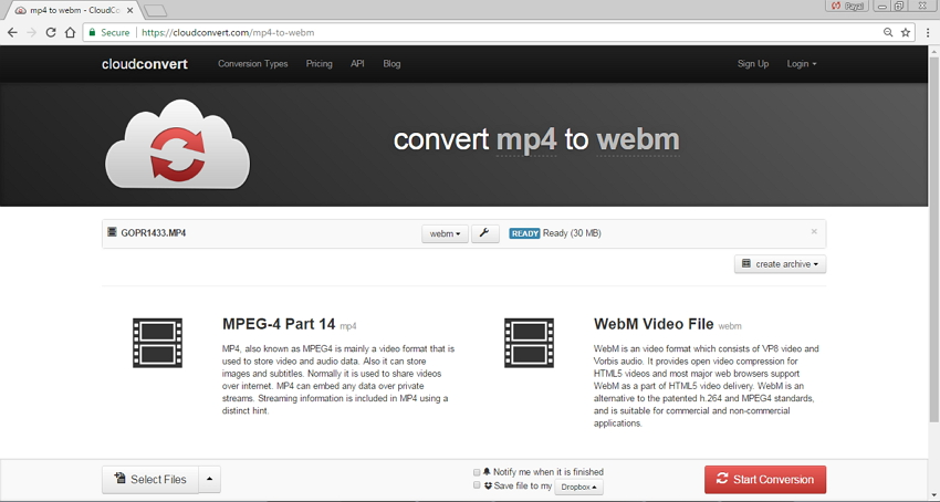 MP4 to WebM Converters Online - CloudConve