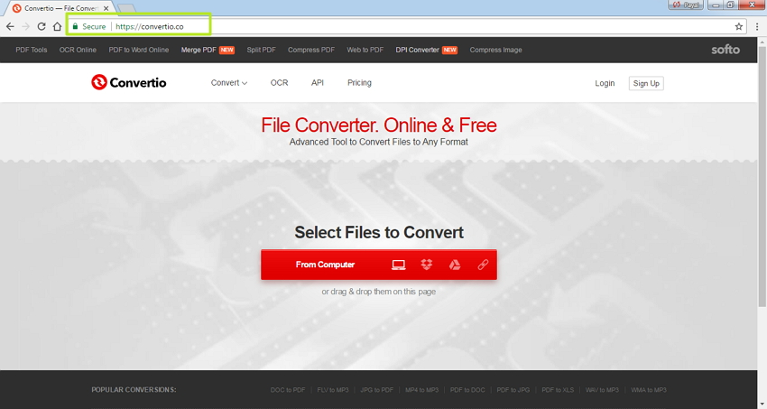 Open the online Xvid to MP4 converter
