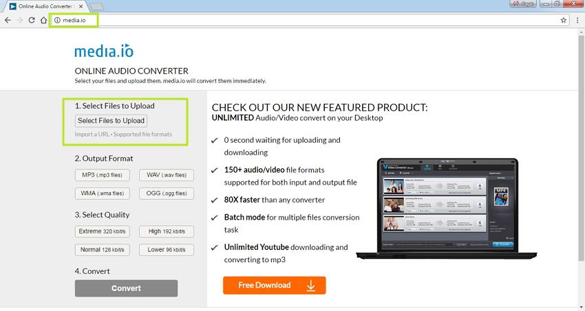 Convertir MP4 a WMA en Línea - Abre el la pagina web