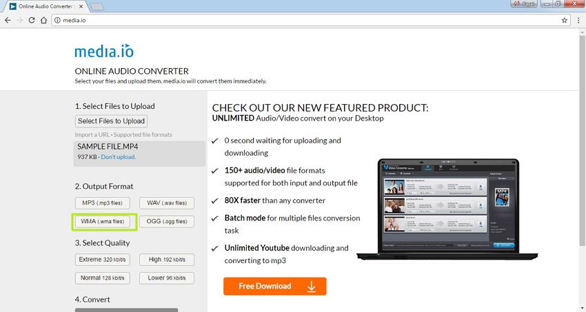 MP4 zu WMA Online konvertieren - WMA zu Output Format wählen