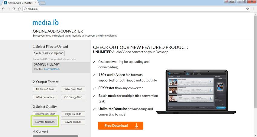 Convertir MP4 a WMA en Línea - Seleccione la calidad del archivo