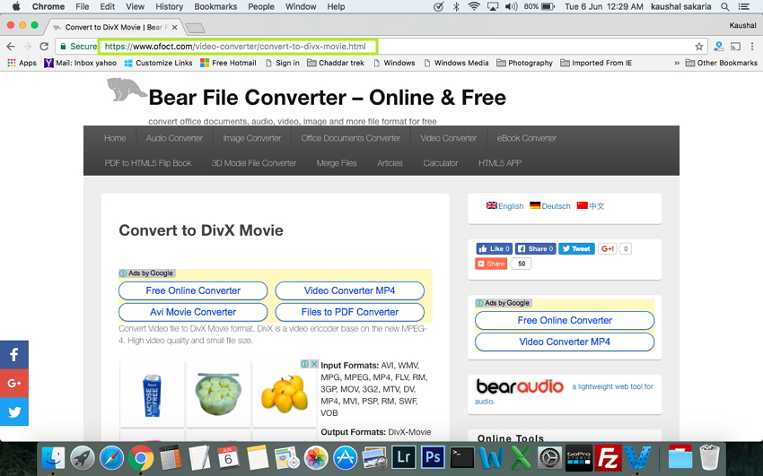 Convert MP4 to DivX on Mac - open the website