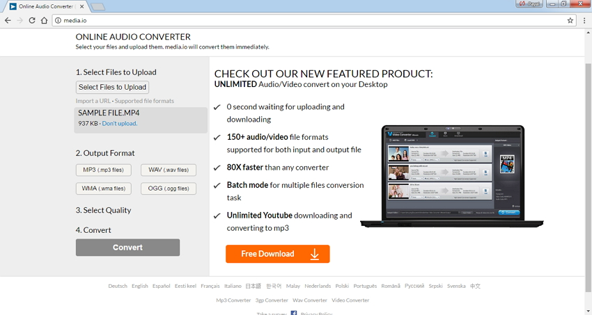 convertisseurs MP4 en WAV en ligne - Online UniConverter (originally Media.io)