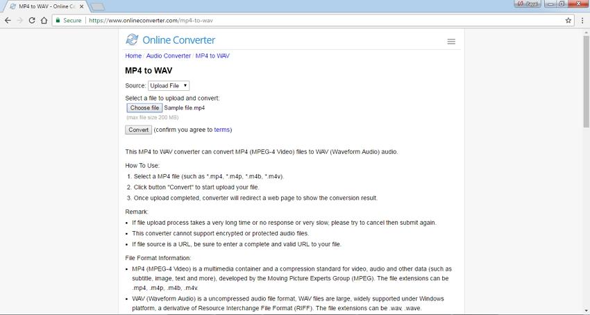convertisseurs MP4 en WAV en ligne - Online Converter