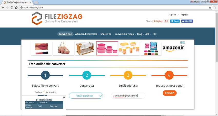 Convertir MP4 en OGG en ligne- FileZigZag