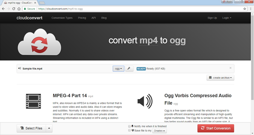 MP4 in OGG Online konvertieren - Cloud Convert