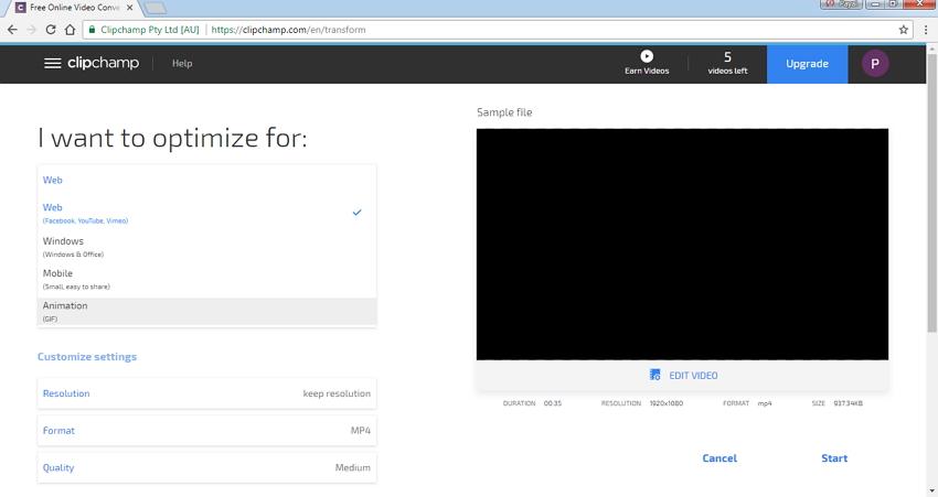 comprimir video usando Clipchamp