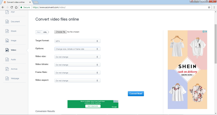 compress video size online using AConvert