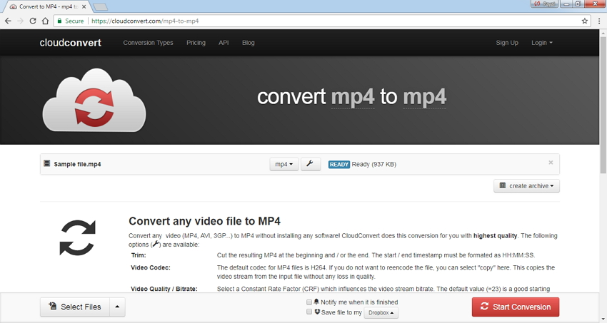 comprimi le dimensioni di un video online con Cloud Convert